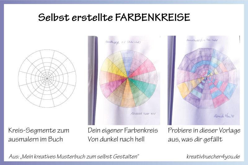 Viel Abwechslung im Malbuch für Erwachsene: Eigenen Farbenkreis selbst gemalt