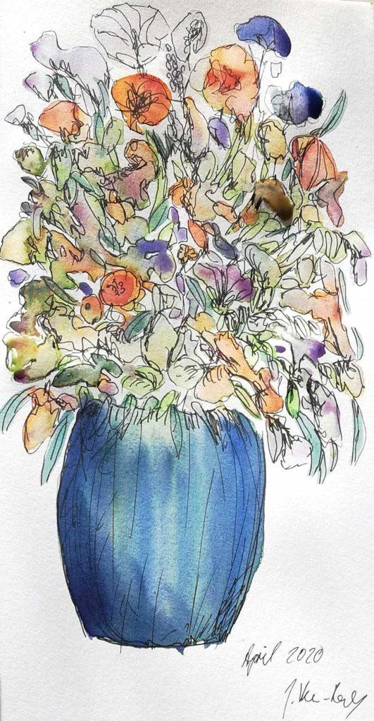 Blumenvase Aquarellbild mit grossem Schmicnke Aquarellfarbenmalkasten - hochwertiges Geschenk für Künstler