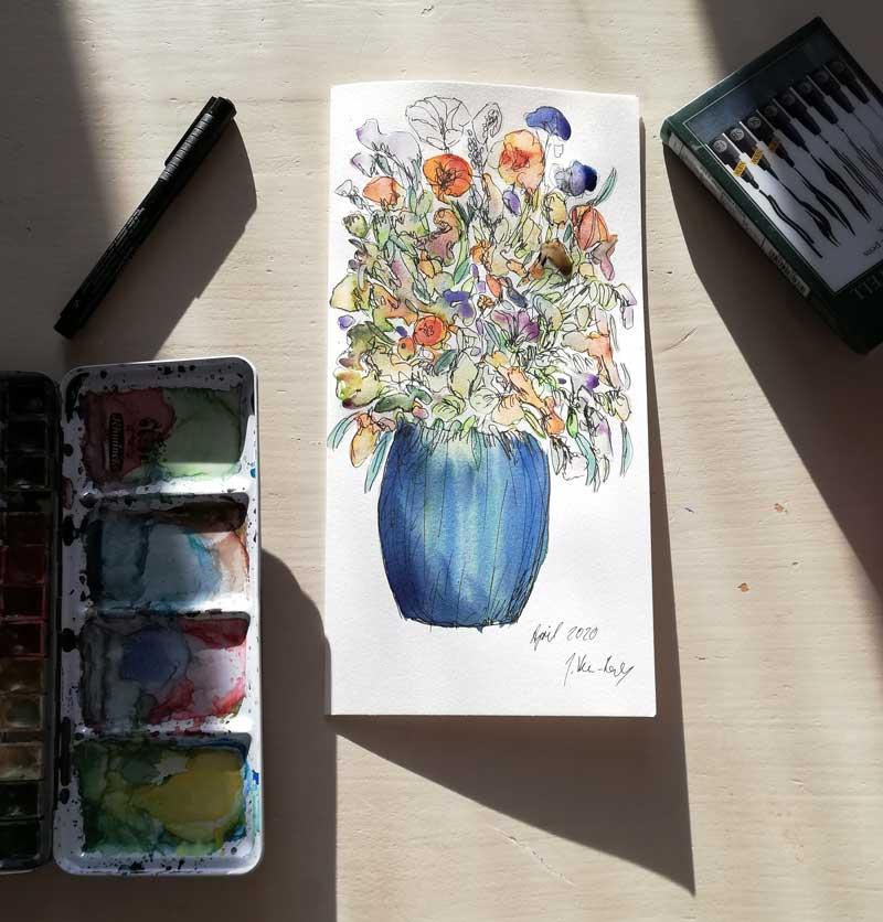 Aquarellbild: Blumenvase bunt mit Schmicke Aquarellkasten gemalt