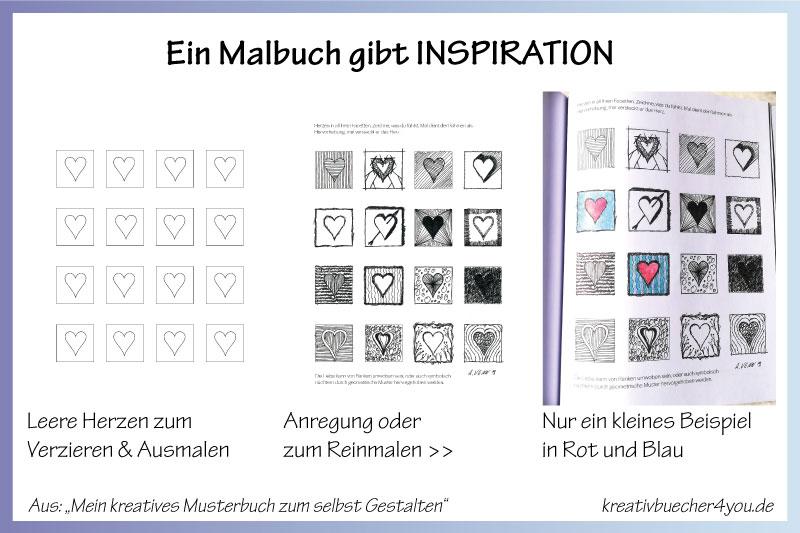 Herzen farbig ausmalen im besonderen Malbuch für Erwachsene