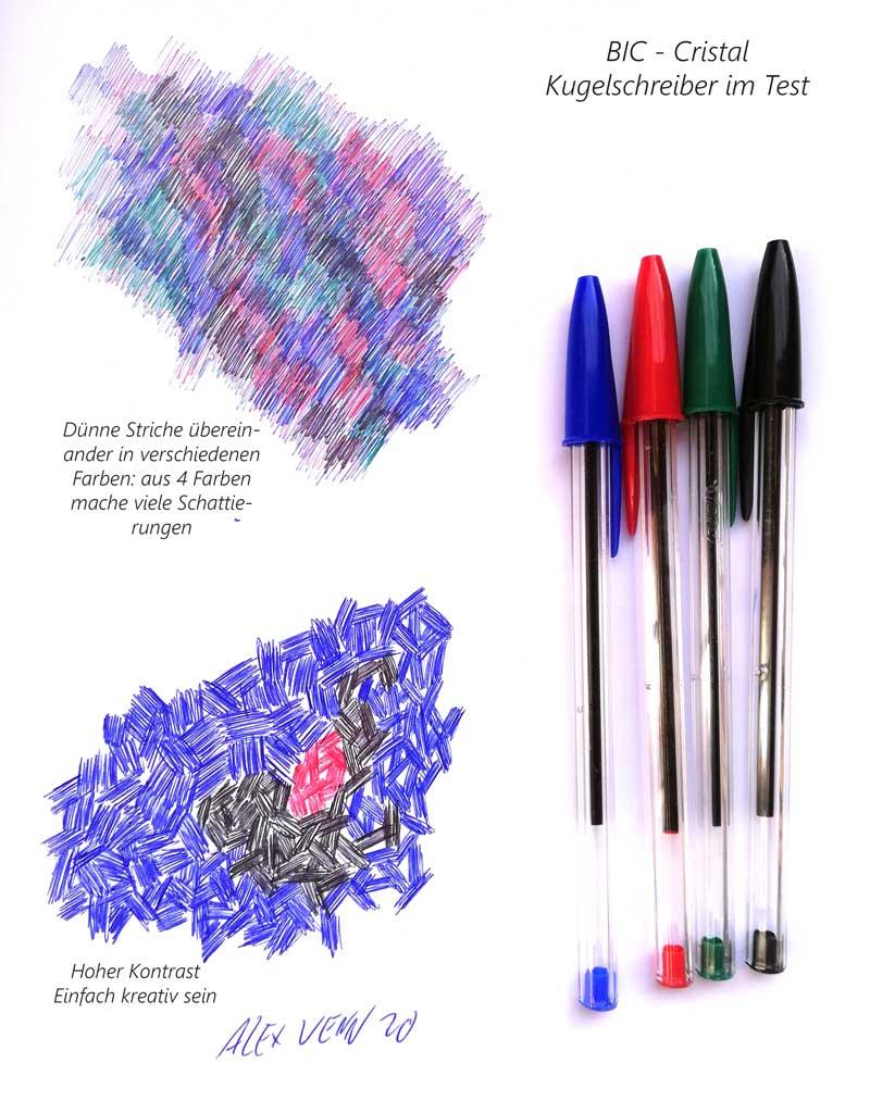 BIC-Cristal-Original Kugelschriber: freie bunte Zeichnung