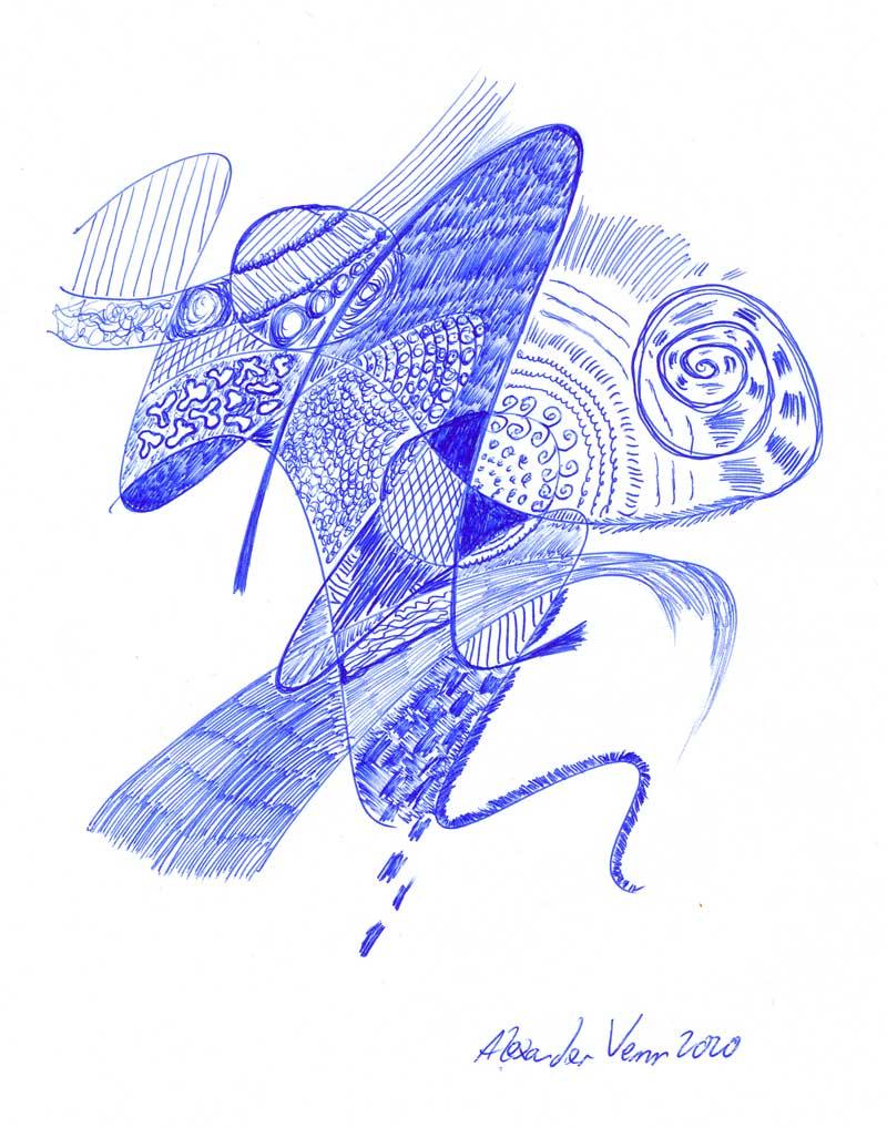 Doodle: blaue Kugelschreiber Zeichnung - abstrakte Kunst