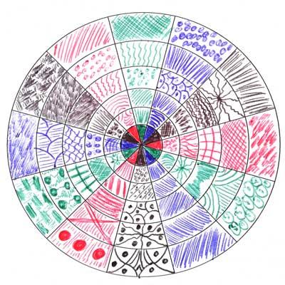 Viele Muster in 4 Farben mit Kuli gezeichnet