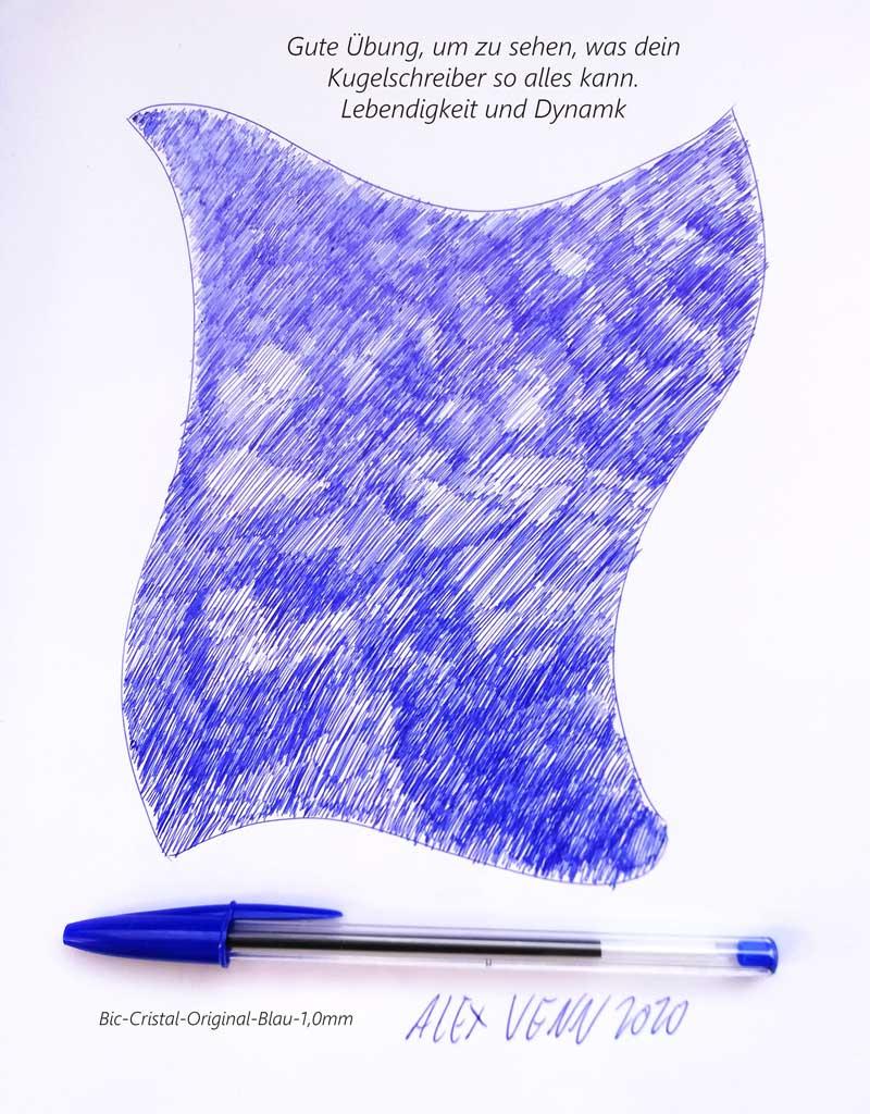 Blaue Schattierung: Übung zum Zeichnen mit BIC-Kugelscheiber