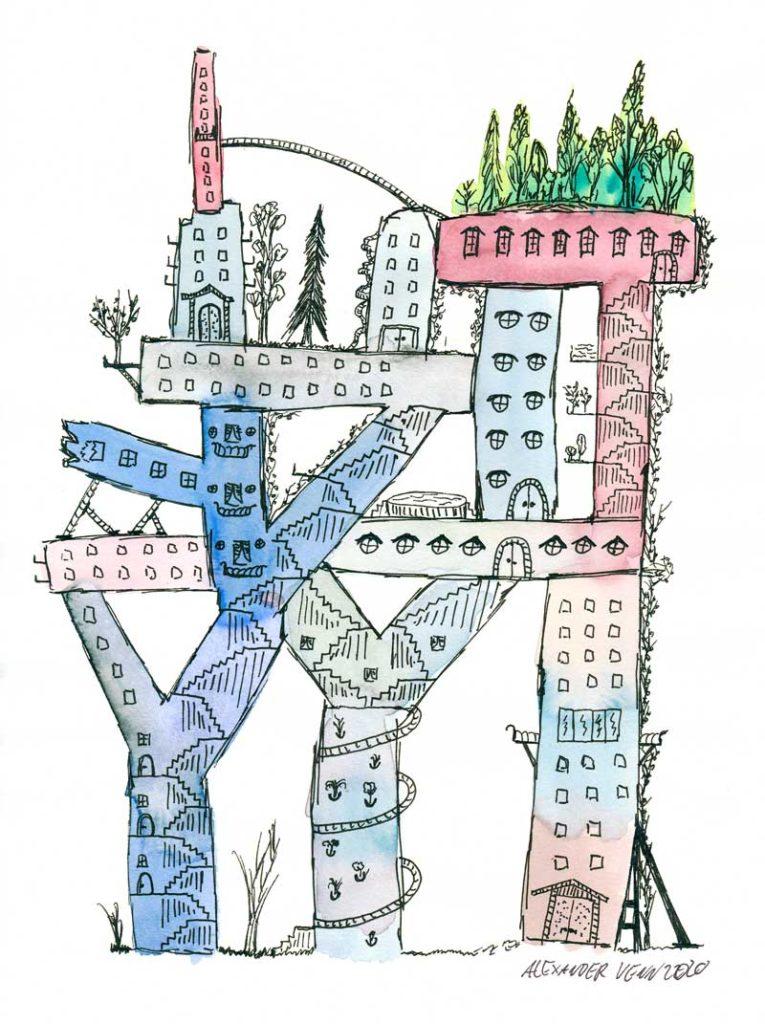 Futuristisches Stadtbild mit Aquarellkasten von Schmicke