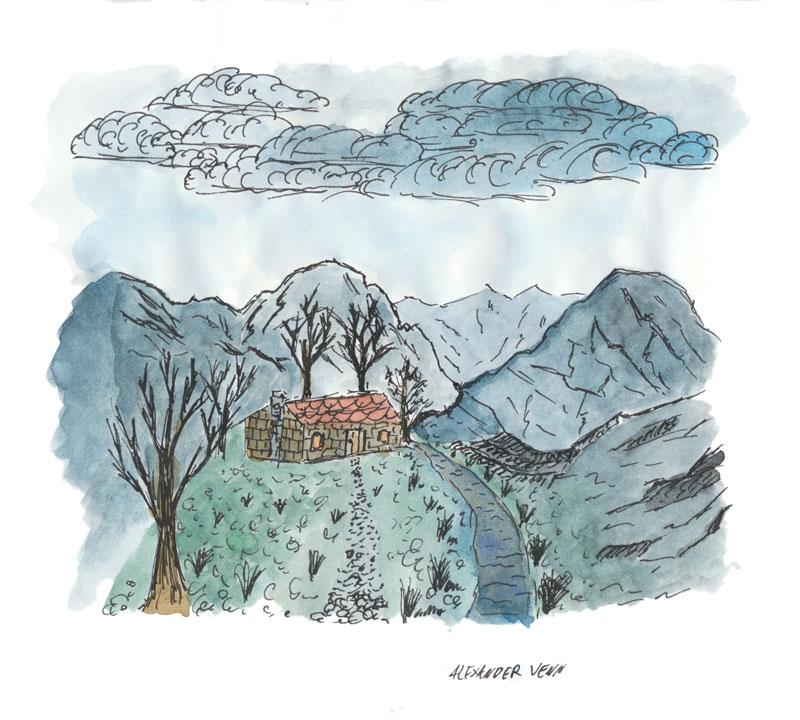 Berglandschaft mit Hütte, Steinhaus und blätterlosen Bäumen koloriert