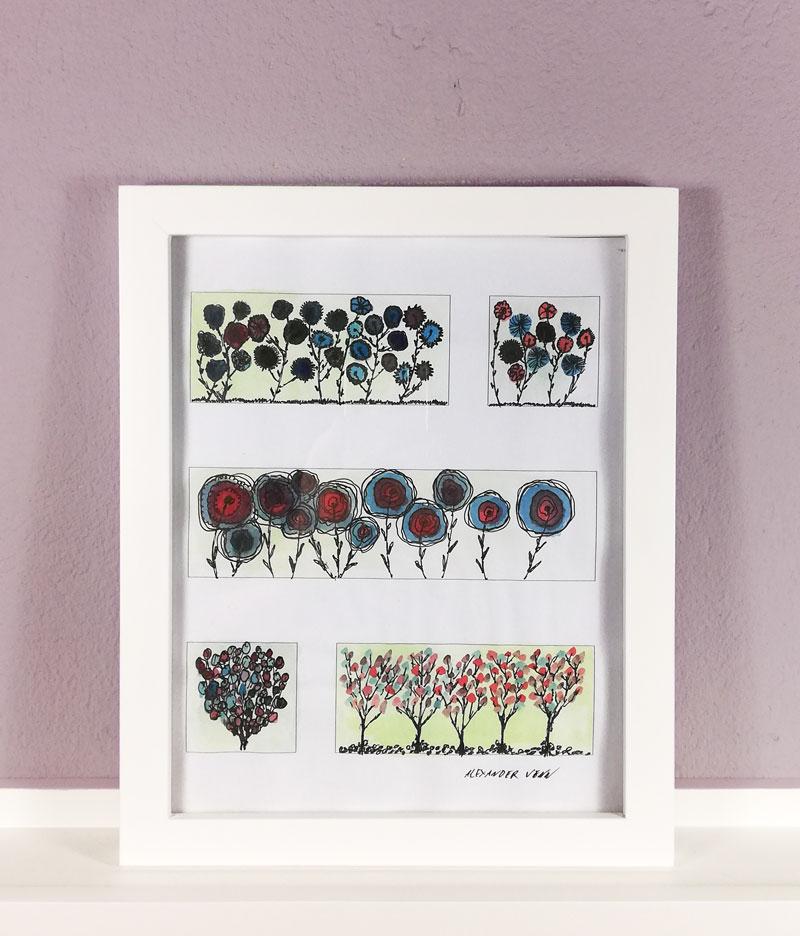 Blumen und mit Aquarellfarbe ausgemalt - im Bilderrahmen 20x25