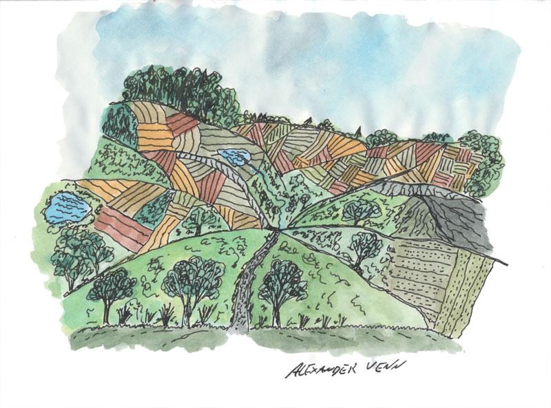 Mit Aquarellkasten von Schmincke kolorierte Landschaftszeichnung