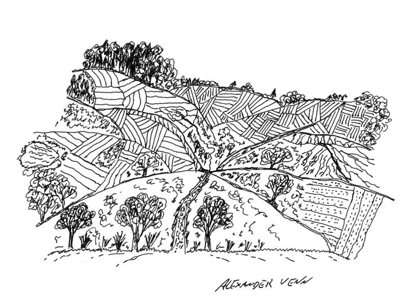 Felder- und Hügellandschaft gezeichnet mit document-1511