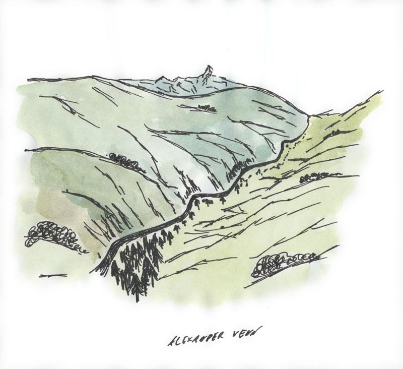 Tal in Berglandschaft koloriert