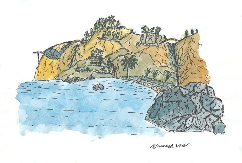 Landschaftsbild mit Bucht und Felsen koloriert mit Aquarellfarbkasten von Schmincke