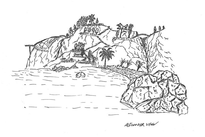 Landschaftszeichung-Bucht-Berge-Mittelmeer zum Kolorieren mit Aquarellfarben