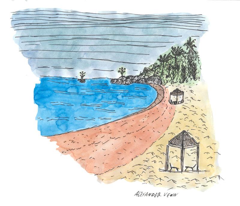 Meeresbucht mit Strand - Südseelandschaft mit kleinen Strohhütten mit Aquarellfarben koloriert