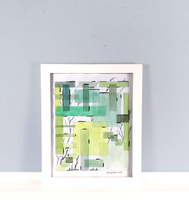 Ranken gezeichent auf Aquarellflächen im Bilderrahmen aus Weissem Holz 20x25cm