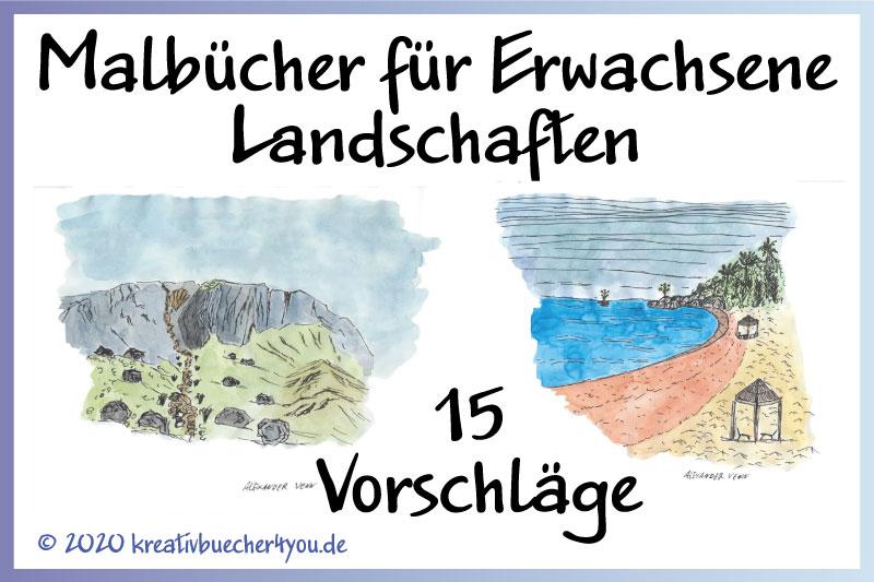 Malbuch für Erwachsene Landschaften