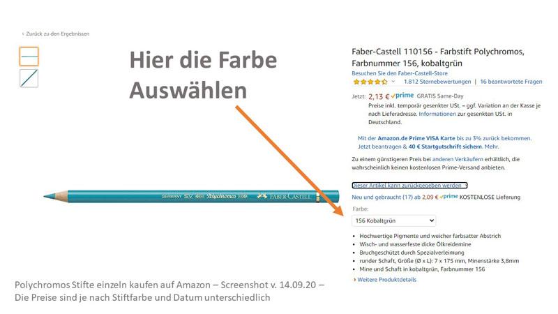 Polychromos einzeln kaufen (von Faber-Castell) über Amazon