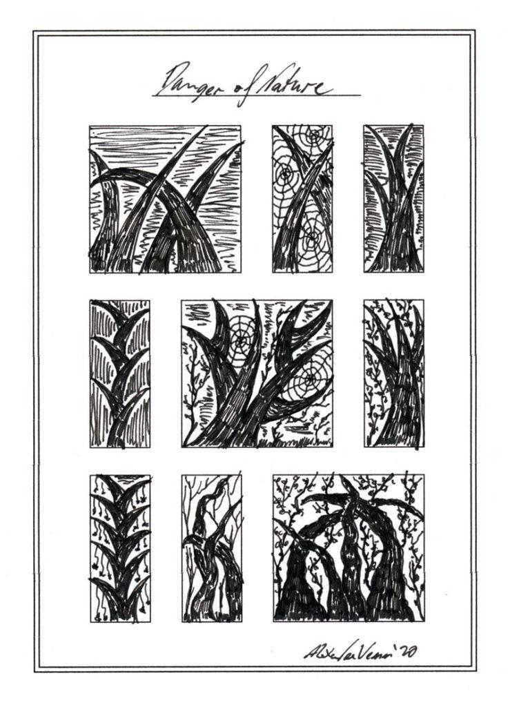 Gefährliche Pflanzen Zeichnung in schwarz-weiß