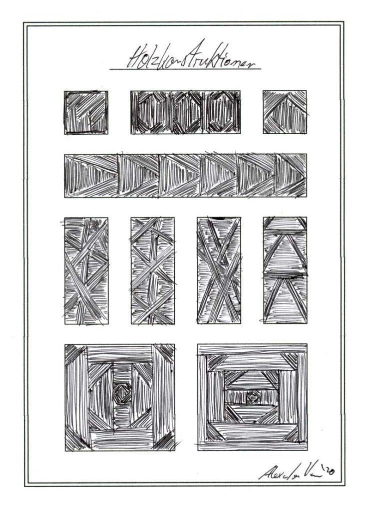Holz-Struktur-Zeichnung mit Kugelschreiber Lamy Logo - M Mine Schwarz