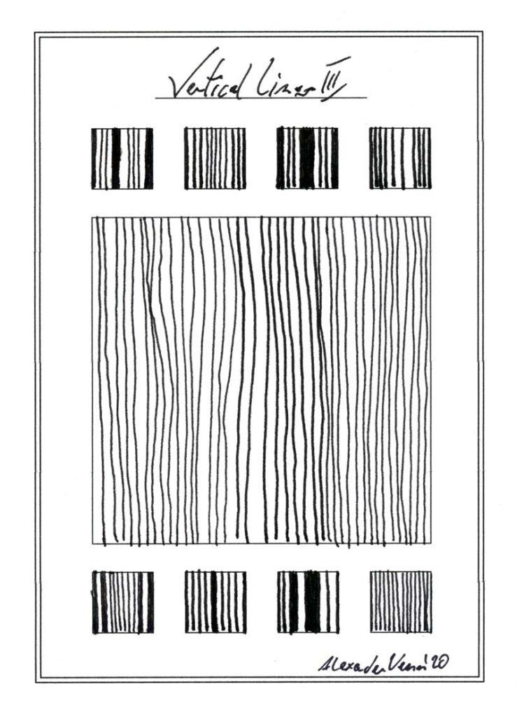 Vertikale Linien Muster Zeichnung in Schwarz Weiss - Dichte der Striche