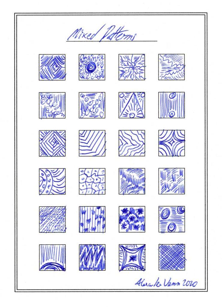 Muster Sammlung zeichnen mit blauem Kugelschreiber