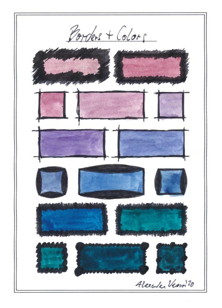 Verschiedene gezeichnete Rahmen um gemalte Farbstimmungen hervorzuheben.