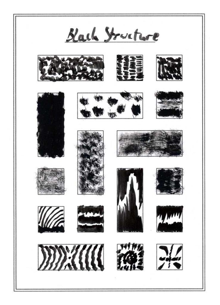 Strukturen und Muster gemalt mit dem Pinsel und Aquarellfarbe