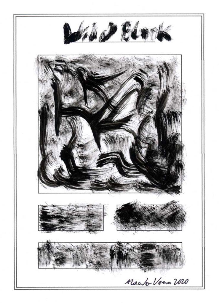 Wildes Muster Schwarz mit dem Pinsel gemalt