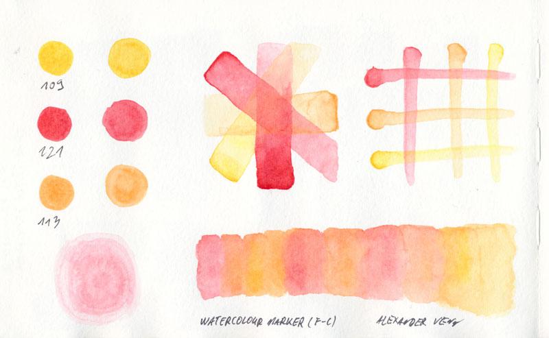 Farbüberlagerungen Rot-Orange-Gelb mit Aquarell-Markern