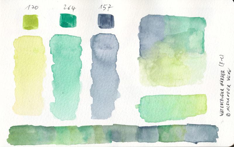 Aquarellmarker Farbkarte mit kräftigen Grüntönen mit sattem Farbauftrag