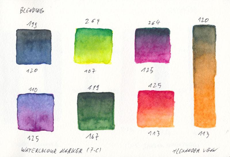 Blendig mit Aquarellfasermalenrn von Faber-Castell - Farbverläufe in Quadraten