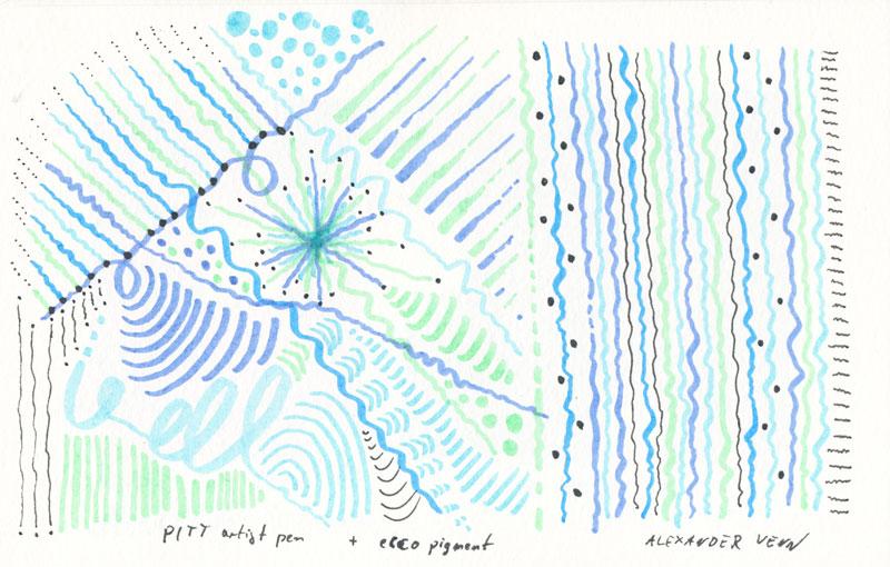 Dünne Linien mit der Pinselspitze der PITT-Tuschestifte