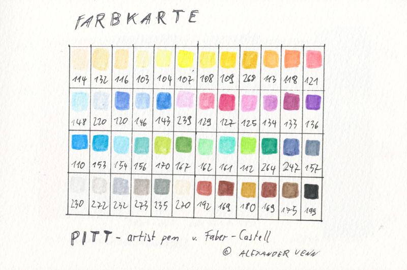 Farbkarte PITT artist pen von Faber-Castell - 48 Farben