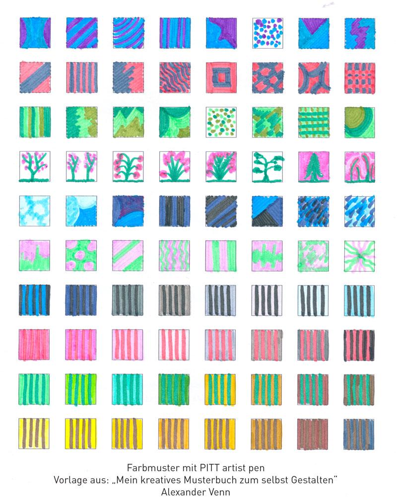 Muster und Farbmuster zeichnen und malen mit den PITT astist pens