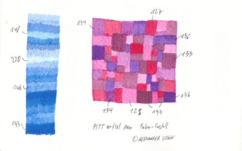Farbpalette in Rot und Blautönen. PITT Faserstifte mit Pinselspitze auf Aquarellpapier