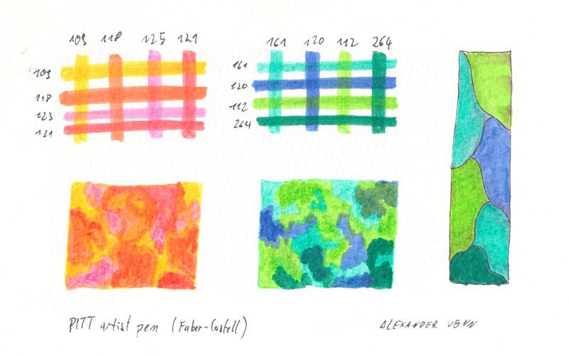 Farbüberlagerungen Pinsel Filzstifte PITT