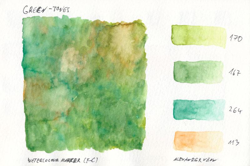 Grüntöne mit Aquarellmarker gemalt.