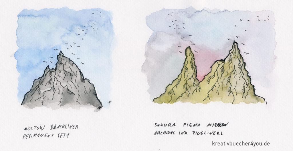 Landschaftsbild Aquarell, Kontur mit wasserfesten Finelinern von Moltow und Sakura Micron