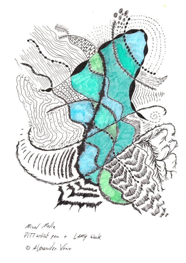 Mixed-Media - Tuschestifte PITT-artist-pen und LAMY Füller. Kolorierte abstrakte Zeichnung