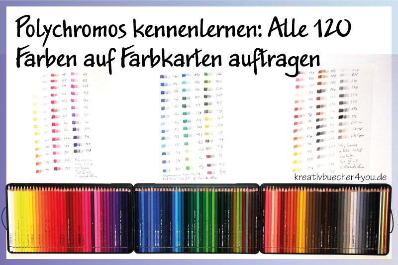 Alle 120 Polychromos-Buntstifte auf Farbkarte gemalt