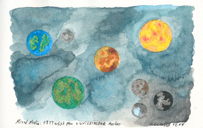 Wasserfeste Fasermaelr PITT mit Watercolour Marker kombiniert - gemalte Planeten