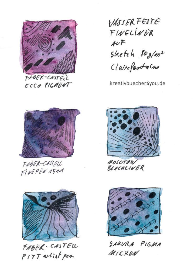 Wasserfeste Fineliner auf Sketchpapier 90g von Clairefontaine