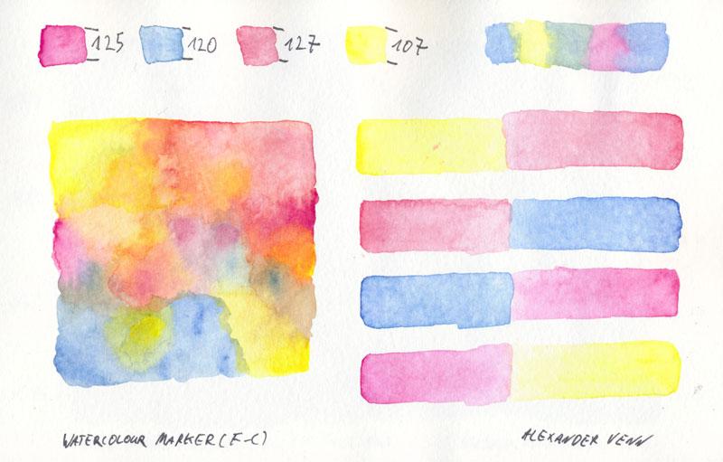 Pastellfarben-Bild - gemalt mit Watercolour-Marker in der Anwendungen auf dem Sofa
