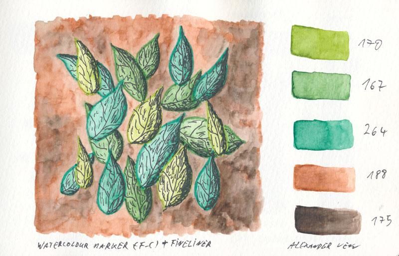 Watercolour-Marker mit Doppelsitze: Dünne Spitze für die Umrandung (Kontur) Blätter als Beispiel