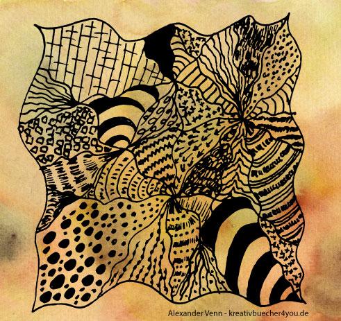 Zentangle-Muster auf gelb-sandfarbenem Aquarellhintergrund