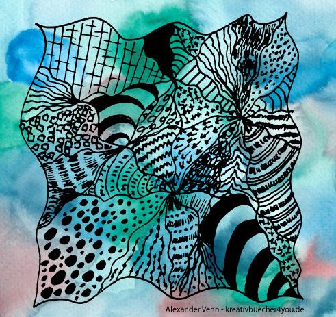 Zentangle Muster auf buntem Aquarell-Hintergrund