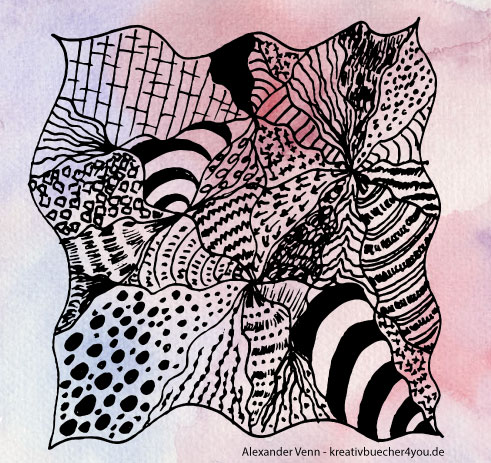 Zentangle Muster auf rosarotem Aquarellhintergrund
