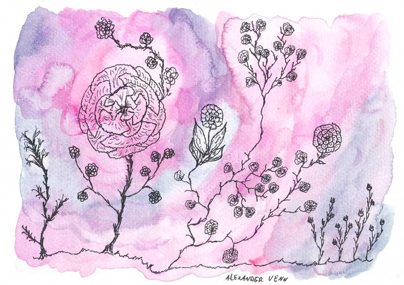 Aquarell-Hintergrund in Rosa mit gezeichneten Blumen