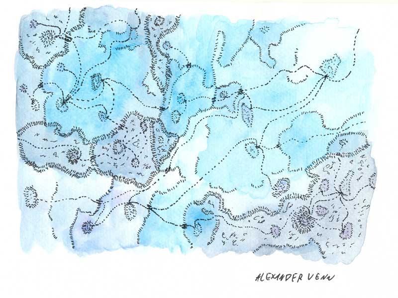 Aquarellhintergrund Zeichnung folgt der Form