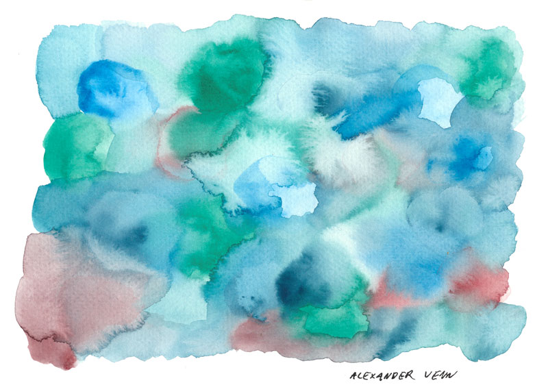 Bunter Aquarell-Hintergrund, gemalt mit Schmincke-Malkasten