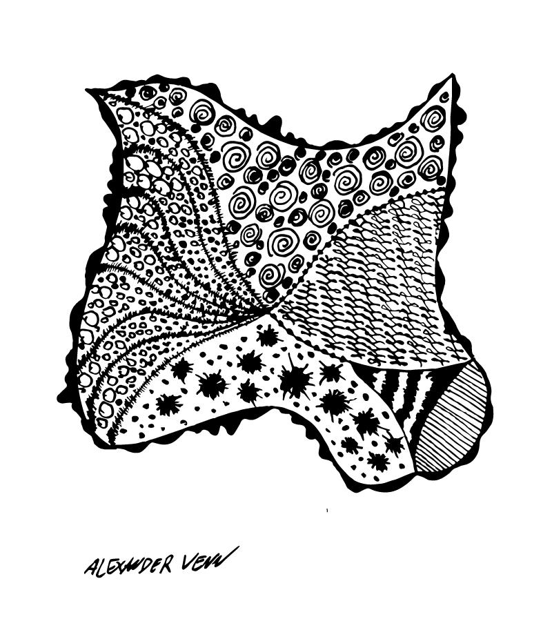 Muster Mix im Zentangelstil in Schwarz Weiss